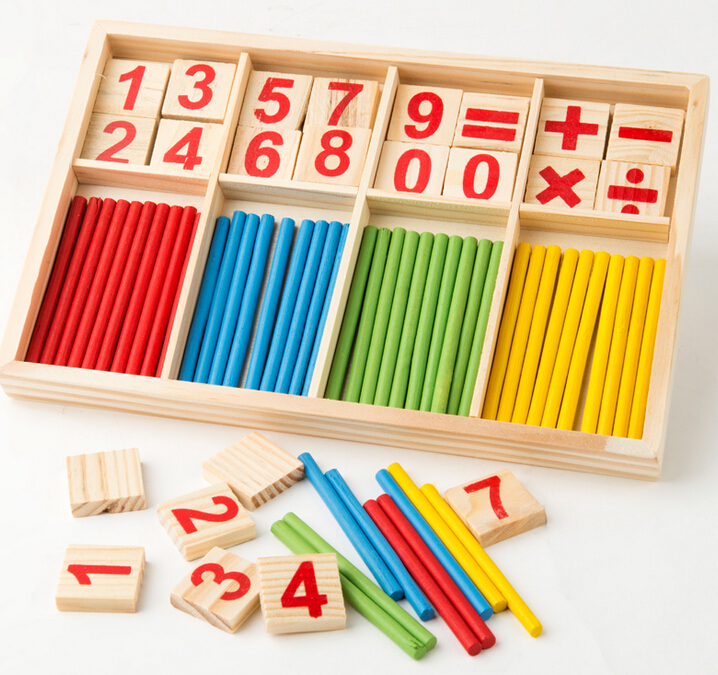 [4Y4A] Montessori Wooden Number Math Game Sticks Educational Toy Puzzle Teaching Aids Set wooden number sticks building blocks kids math learning toy kid educational digital blocks