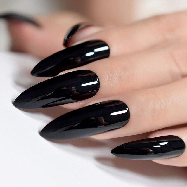 Sharp Black STILETTO Nail Art Tips Pure Color Extra Long Candy False ...