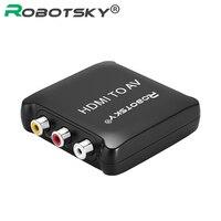 HD Video Converter Caja CVSB RCA L/R AV al Convertidor de HDMI adaptador 1080 P HDMI2AV NTSC PAL Salida de hdmi Para TVAD DVD Displayer Proyector