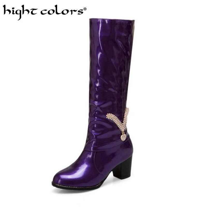 Sexy strass ruw met ridder laarzen paars lakleer hoge laarzen grote maat 43 44 45 46 47 48 Mode vrouwelijke Tall Schoenen