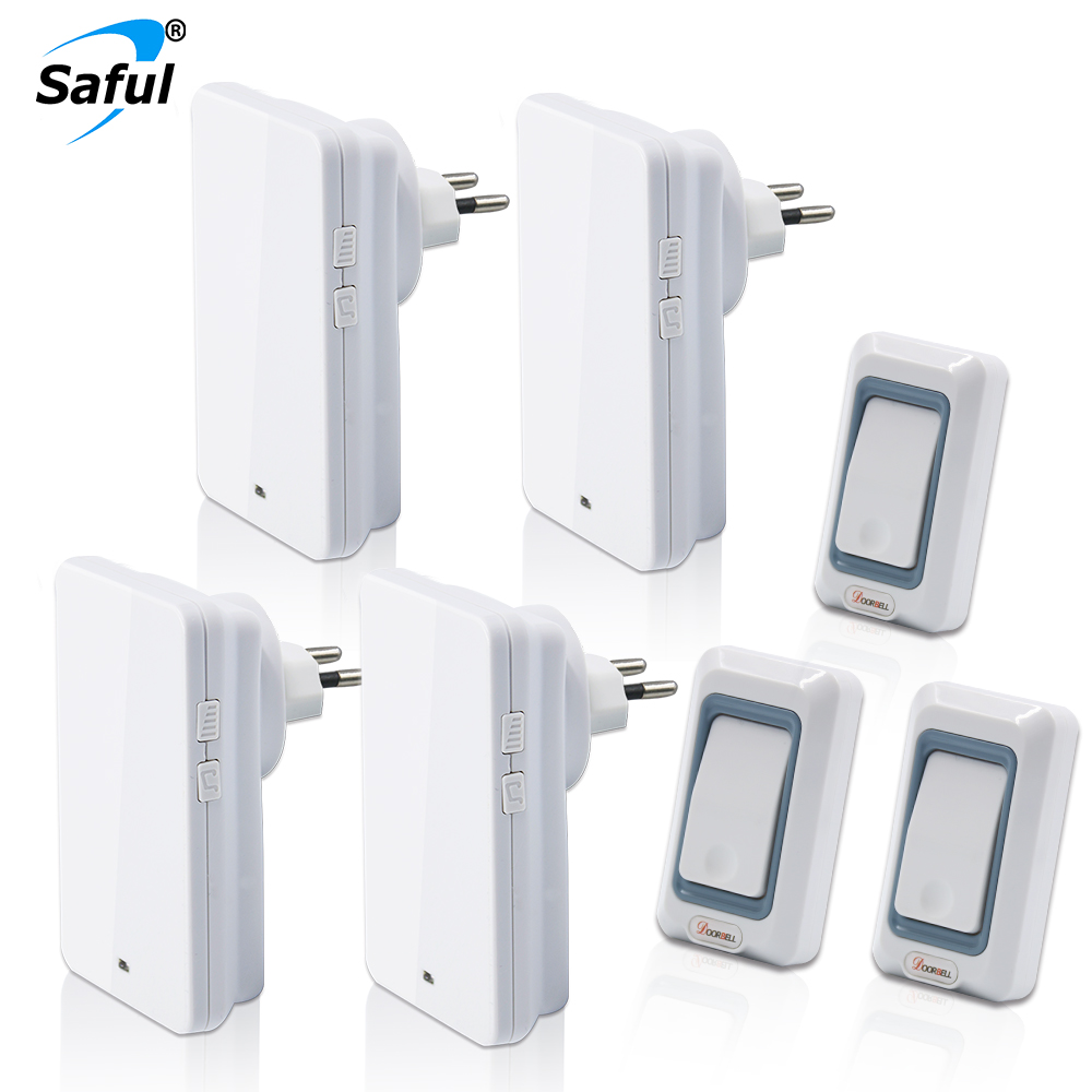 Saful 110V-220V EU/US/UK/AU Plug Combination Wireless Doorbell 3 Outdoor Push Button Transmitters + 4 Indoor Receiver autoeye cctv camera power adapter dc12v 1a 2a 3a 5a ahd camera power supply eu us uk au plug