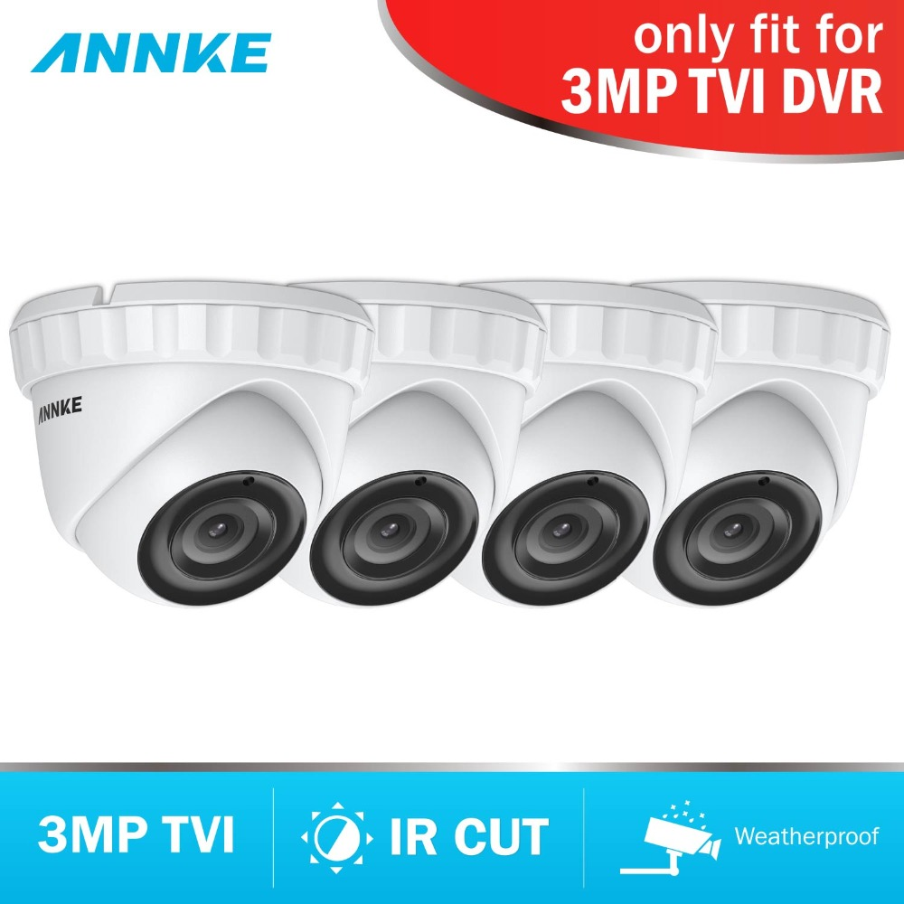ANNKE HD 3MP TVI 4pcs Camera Set CCTV Surveillance Video Camera System Kit Night Vision IR Cut for TVI DVR Waterproof LED