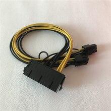 Atx adaptador de alimentação 24pin fêmea para placa gráfica dupla 6pin macho cabo de extensão 30cm 18awg