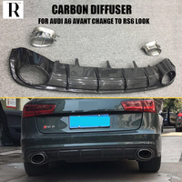 A6 менять на RS6 углеродное волокно задний бампер диффузор с выхлопная система для Audi A6 Avant только (не может поместиться Allroad) 2018