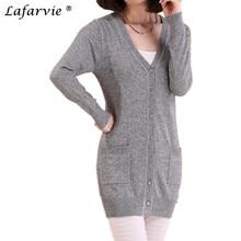 Lafarvie 2016 Spring&Auturm Cashmere Cardigan Female Medium-long Wool Sweater Loose Long-sleeve Plus Size