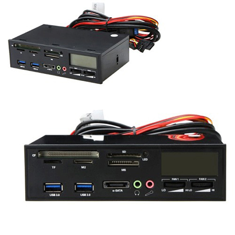 """Multifunction USB3.0 Card Readers 5.25"""" All In One Media Dashboard Front Panel PC Multi Card Reader"""
