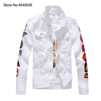 2019 Men's Patches Design Slim Fit Denim Jacket White Army Green Patchwork Coat Outerwear For Man