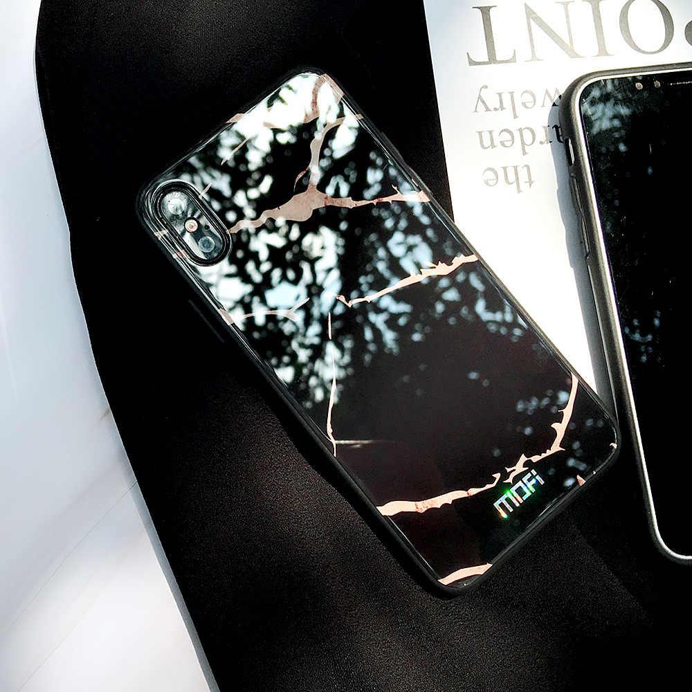 "Para o iphone X caso Mofi para iphone x tampa de vidro temperado de volta duro grão de mármore preto branco para o iphone x caso capa coque 5.8"""