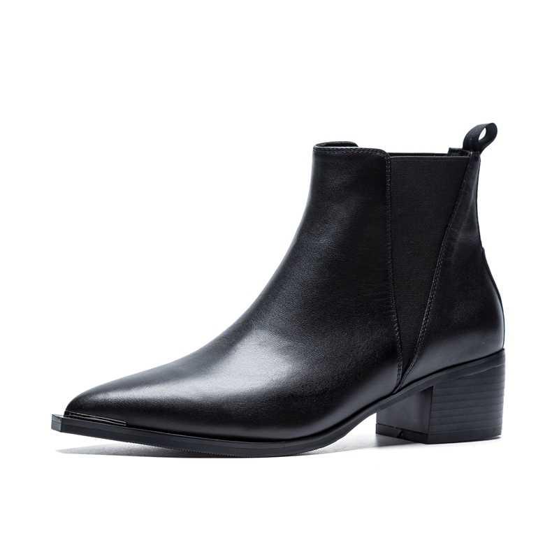 2019 yeni moda kadın botları ilkbahar/sonbahar hakiki deri çizmeler kadın temel yüksek Top yarım çizmeler patik pompası Med topuklu ayakkabılar