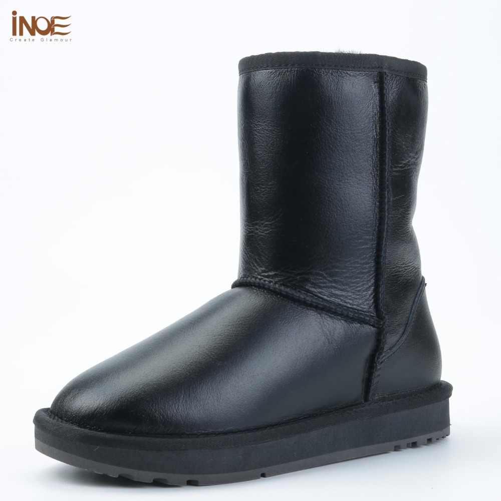 INOE klasik erkekler orta buzağı koyun derisi deri kar botları Shearling yün kürk astarlı kış çizmeler tutmak için sıcak ayakkabı su geçirmez siyah