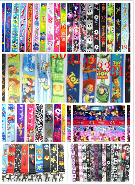 Free Shipping DHL Lot 500pcs Popular cartoon Mix Neck Lanyard Mobile cell phone neck straps charms