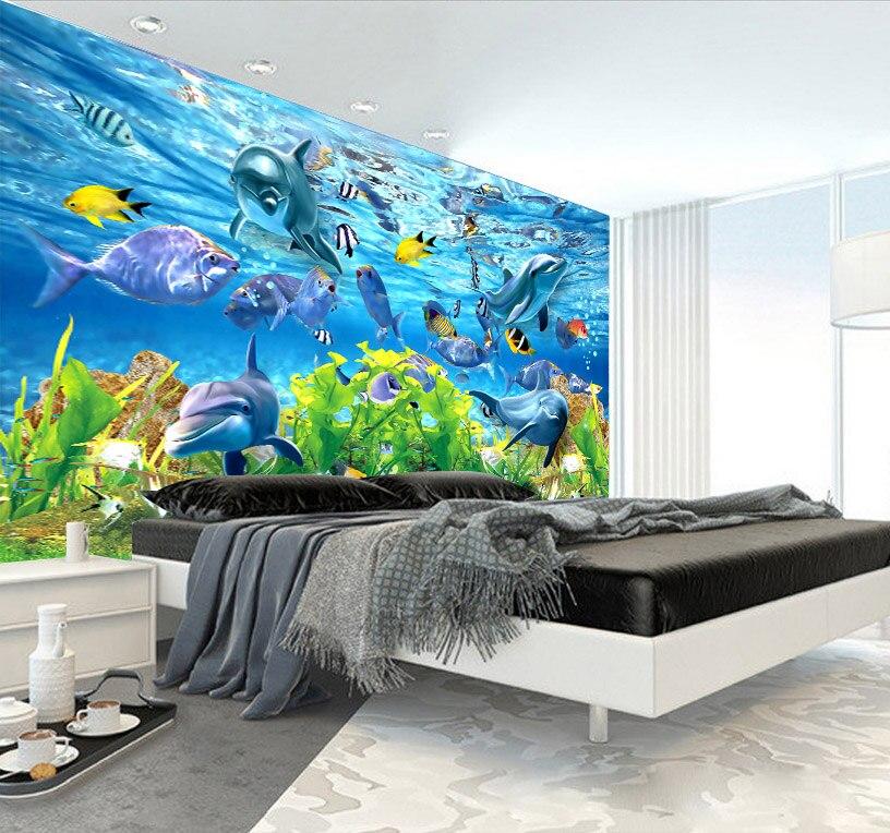 US $11.78 20% OFF|Benutzerdefinierte 3d wandbild 3D benutzerdefinierte  tapete unterwasserwelt marine fische wand kinderzimmer TV hintergrund  aquarium ...