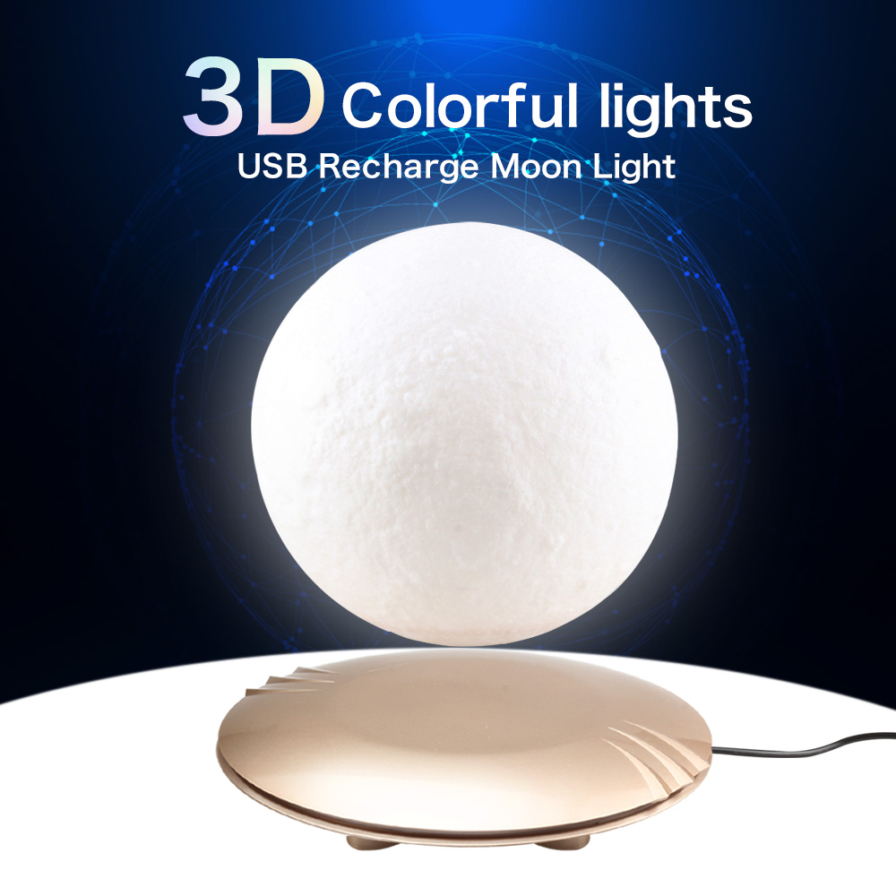 Romantic 3D Magnetic Floating Moon Lamp Rotatable Levitating Night Lamp Lights Table Night Moonlight Creative Home Decor Light 3d levitation moon lamp magnetic floating led night light levitating toy gift wireless power supply creative home night lamp