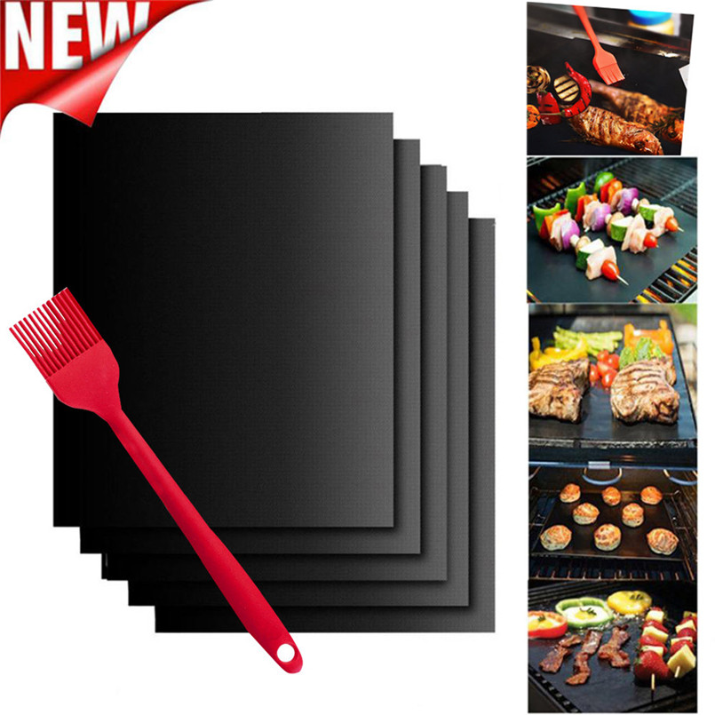 5PCS Non-Stick BBQ Magic Grill Mat Perfect for Baking on Gas Heat Resistant + oil brush wholesales NRJ12