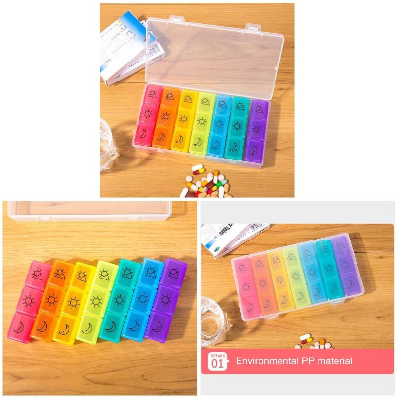 Travel Friendly 3 Times A Day 7 Day Pill Organizer for Storage of Pills with 21 Compartments for Healthy Care 4