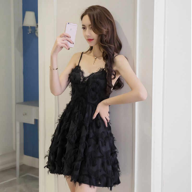 Летнее модное женское черное сексуальное элегантное платье на бретельках, винтажное платье, белое тонкое мини-платье без рукавов с кисточками и перьями, Vestidos