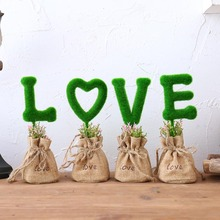 Fresh garden plant simulation potted plants for LOVE bonsai small ornaments Home Furnishing desk furnishings jewelry