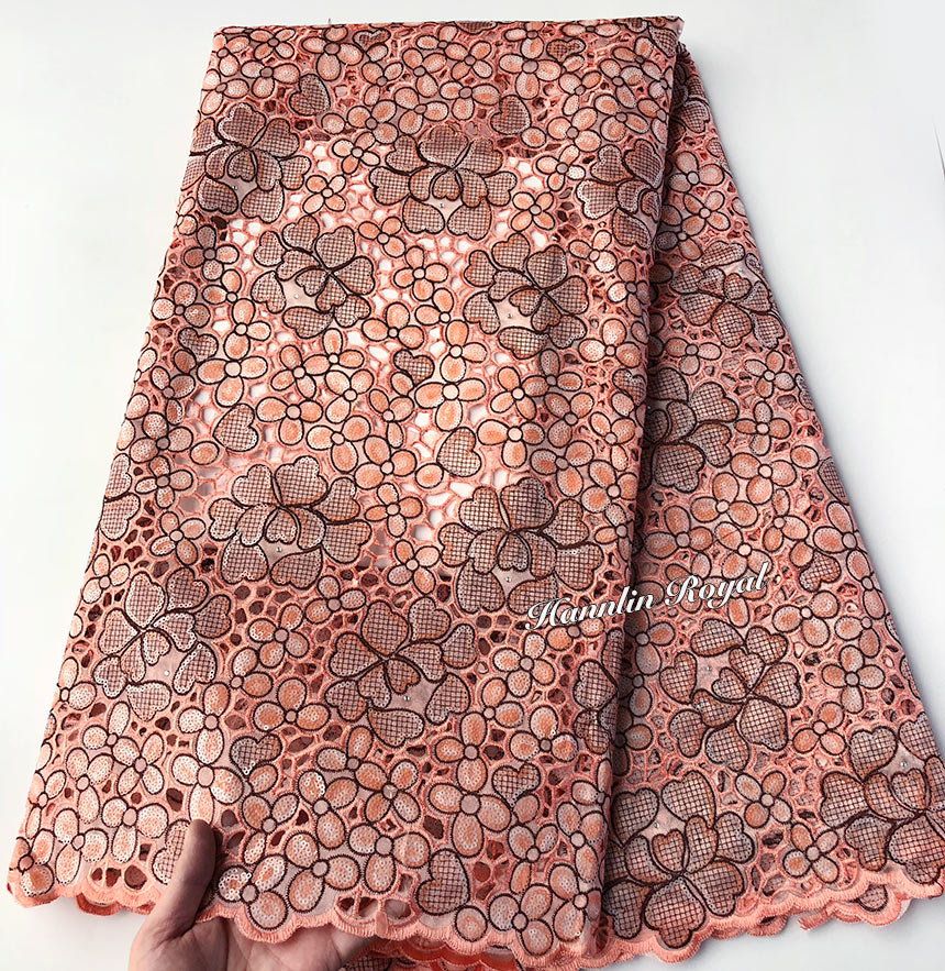 5 yards Shine Peach African Handcut Lace organza Fabric with massive sequins high quality