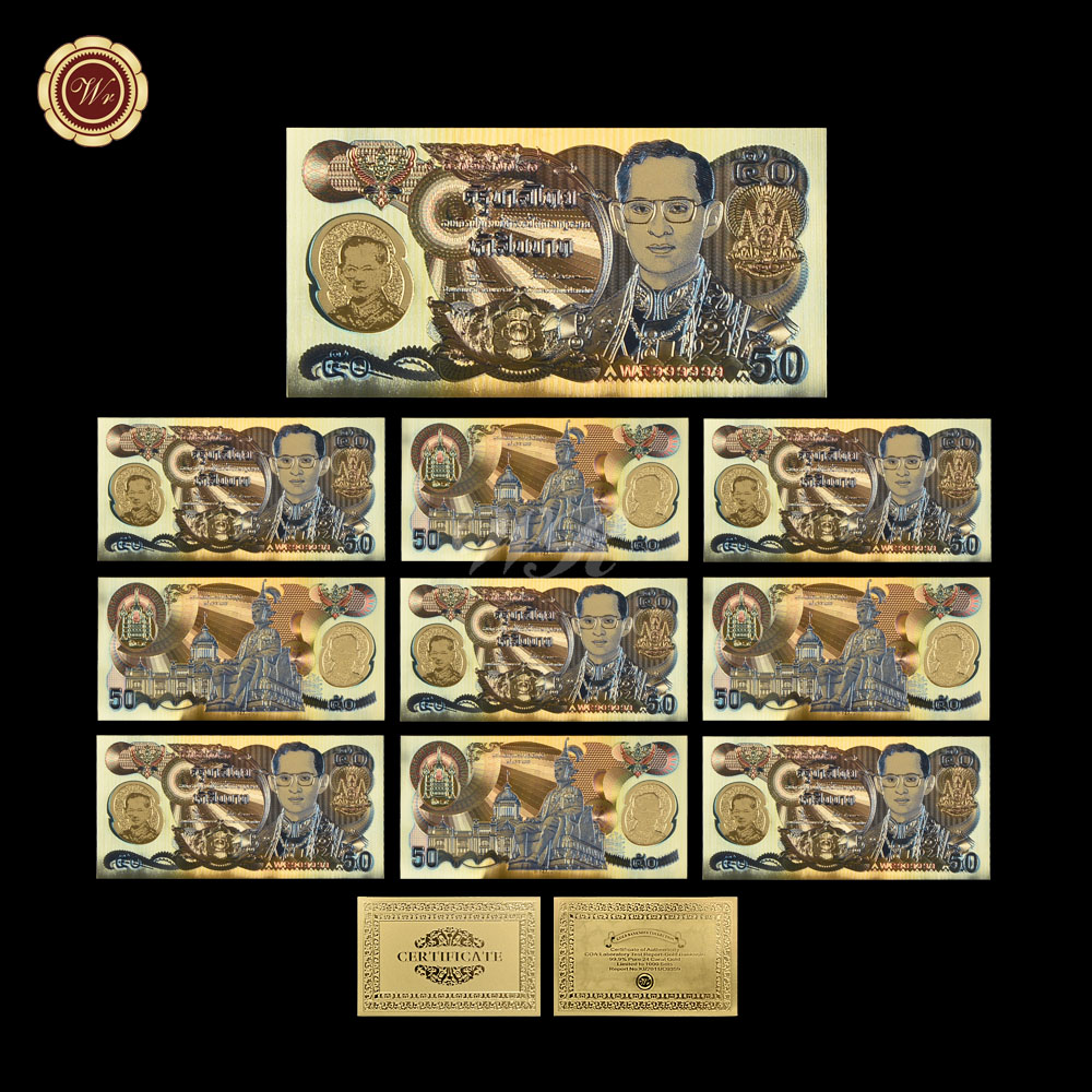 WR Gift Ideas for Men Colorful Gold Banknote Collectible 50 Baht Gold Foil Paper Money Hot Sale Bill Note for Home DecorWR Gift Ideas for Men Colorful Gold Banknote Collectible 50 Baht Gold Foil Paper Money Hot Sale Bill Note for Home Decor