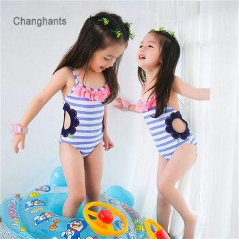 4f839ec5d طفل واحد قطعة ملابس سباحة للفتيات ضوء الأزرق مخطط مع تفريغ تصميم 1-14Y  الاطفال