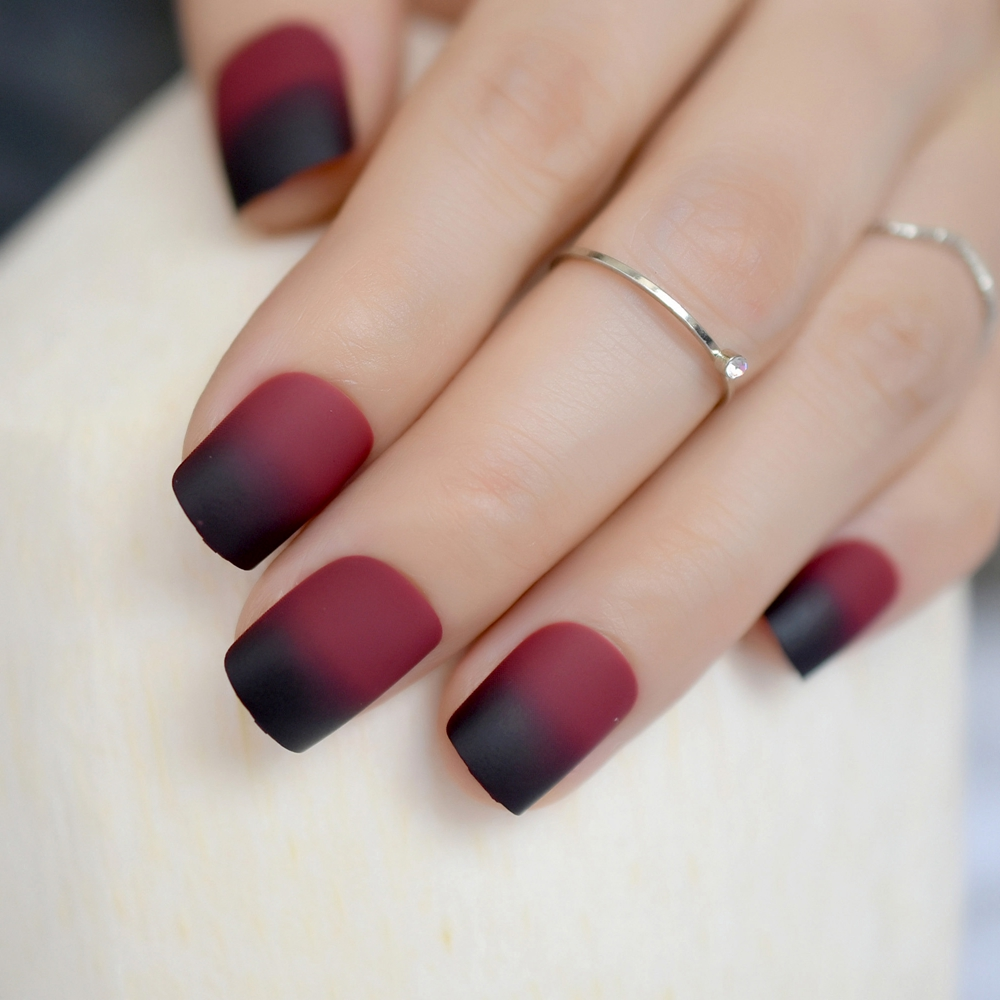 Gradient Frosted Fake Nail Artificial Nails Black Red Wine ...