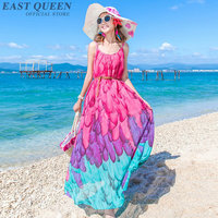 Summer dress 2018 boho bohemian long sundress beach tunic vestidos flowers print chiffon modern design long dress AA3699 Y