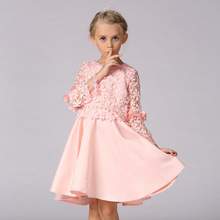Long Sleeve Hollow Lace Top Handmade Flower Girl Dresses Ruched Bow Knee-Length Girl Special Occasion Dresses