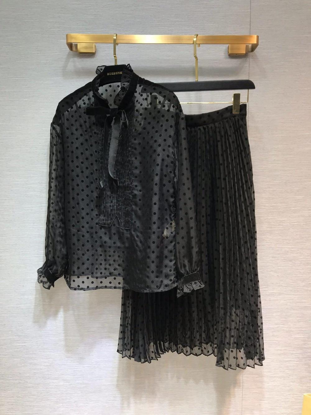 Printemps Début Blouse Illusion Femmes Manches Solide Noir Pleine 2019 0308 Puff Robe Au Définit Du Shirts Couleur gnxwqRHU