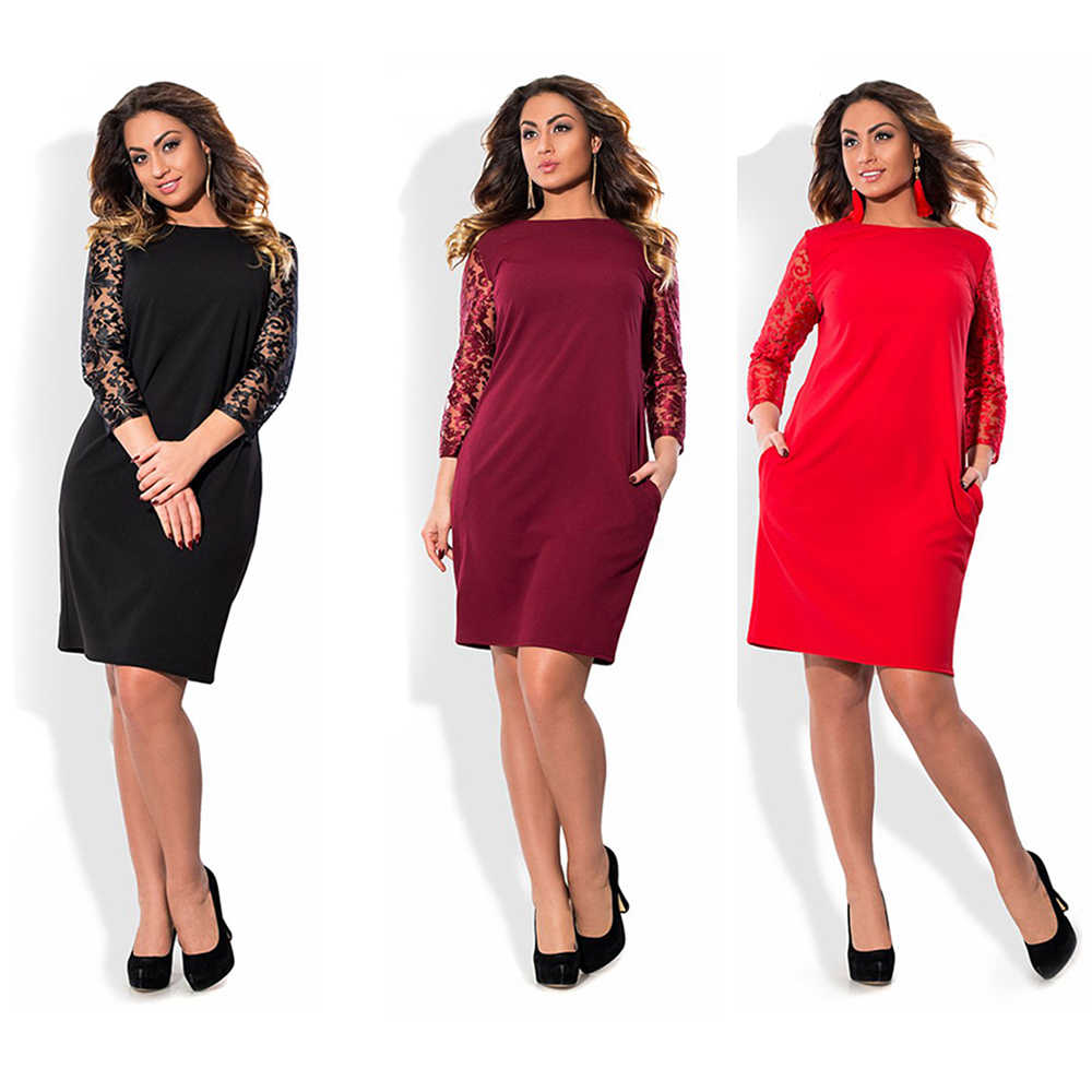 冬の秋の女性黒 6XLプラスサイズエレガントな花レースドレスビッグサイズオフィスドレス着用して作業する大サイズドレスvestidos