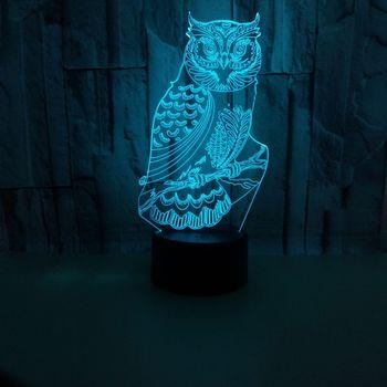Сова станция дерево 3d лампа стерео видение сенсорный Красочный ночник спальня настольная лампа Акриловая 3d атмосфера настольная лампа