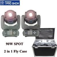 90W Moving Head Spot LED Beam Lyre DMX Stage Lighting Effect Rotating Gobo Prism Strobe 2in1 FlightCase For Mobile DJ Disco Club