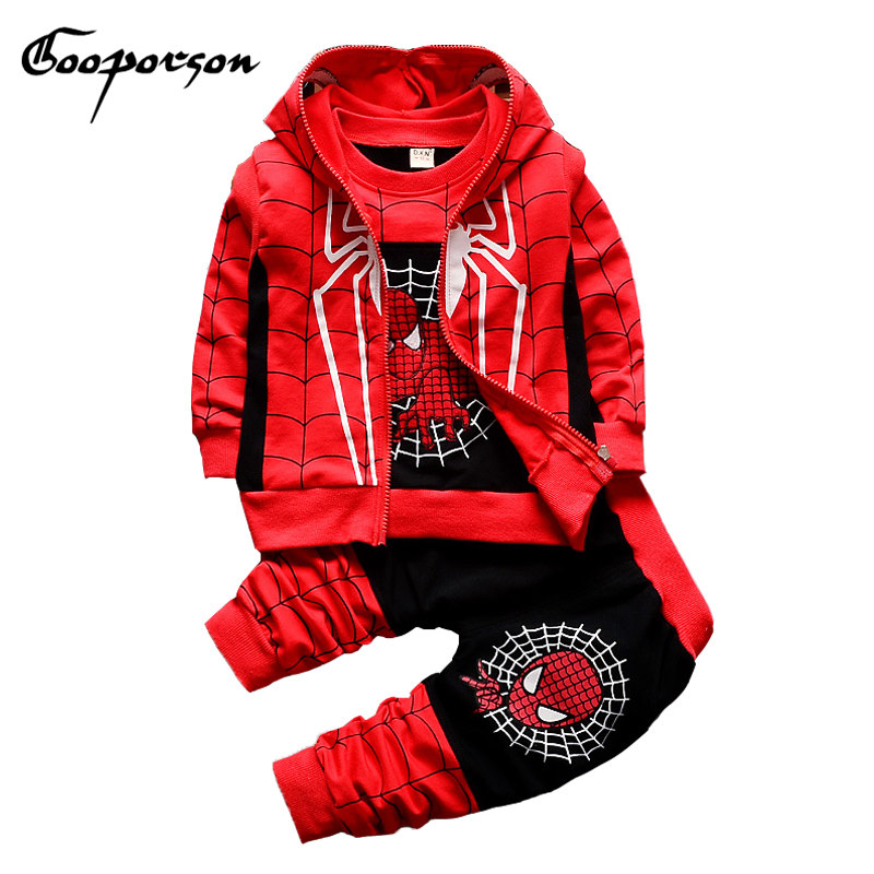 Boys Clothes Set Spider Man Clothing Suit Autumn Winter Outwear Sets Hoody Vest + T-shirt+Pants 3 Pcs Boys Tracksuit Outfits Set 2016 new suit boys clothes brand winter sweater for kids 3 13 year with m word three piece set boys vest pants coat a 26145