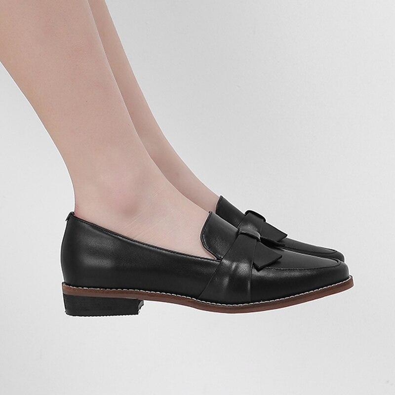 Mujer 100 La Primavera De negro Chica Hees Beige Pajaritas Baja Y apricot Cuero Vaca Zapatos Casuales Escuela Otoño Dulce rqC0r