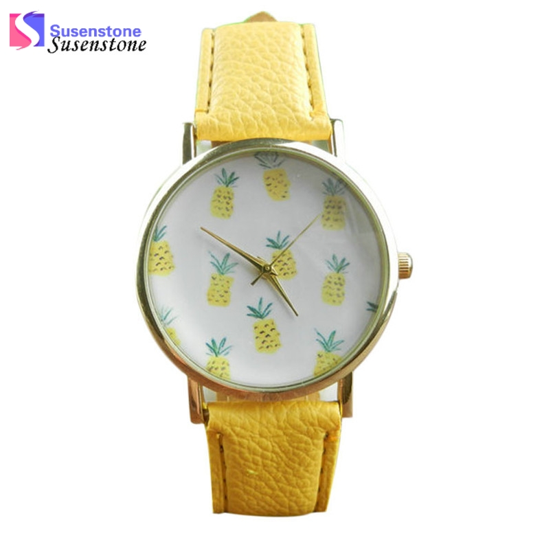 2017 Cute Pineapple Fruit Watches Women Ladies Quartz Watch Fashion Casual PU Leather Analog Wristwatch montre femme relogio