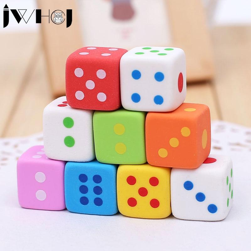 2pcs/lot JWHCJ novelty dice shape rubber eraser creative kawaii stationery school supplies papelaria gift for kids Free shipping цена 2017