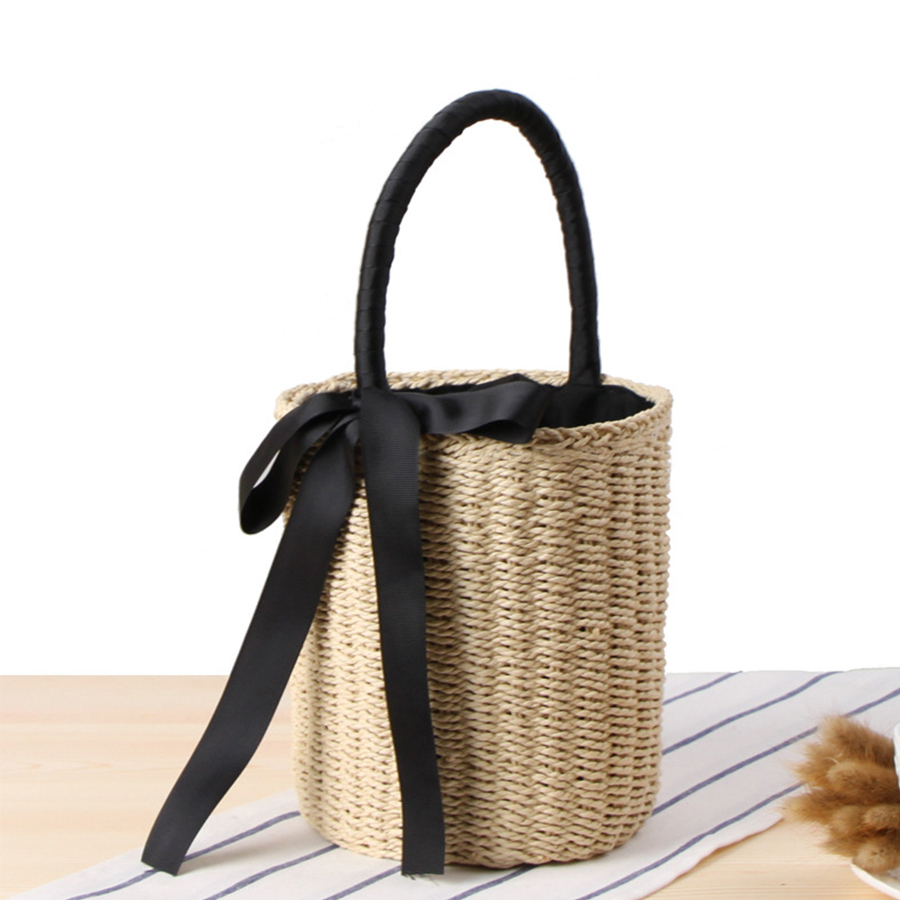 2018 Summer Top Handbags Women Straw Bag Female Bowknot Beach Bags Woman Designer Casual Totes Ladies Vintage Bolsa Feminina New stylish bowknot decorated wavy edge beach straw hat for women