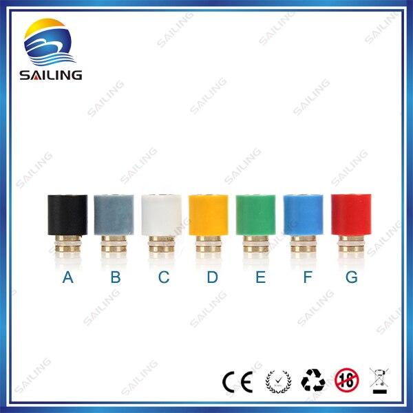 Sailing authentic electronic cigarette Teflon drip tips brass core 7 colors optional for vape 510 tank