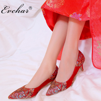 EVCHAR red slip on shoes woman sexy Chinese style silk embroider wedding bride shoes high heels women pUmps size 33 40
