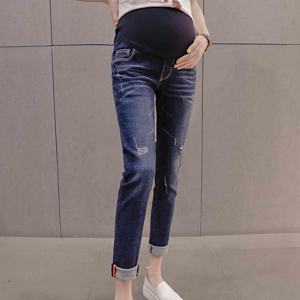 1465fa900b873 MUQGEW maternity clothesPregnant Woman Ripped Jeans Pants Trousers Nursing  Prop Belly Legging vetement grossesse femme #