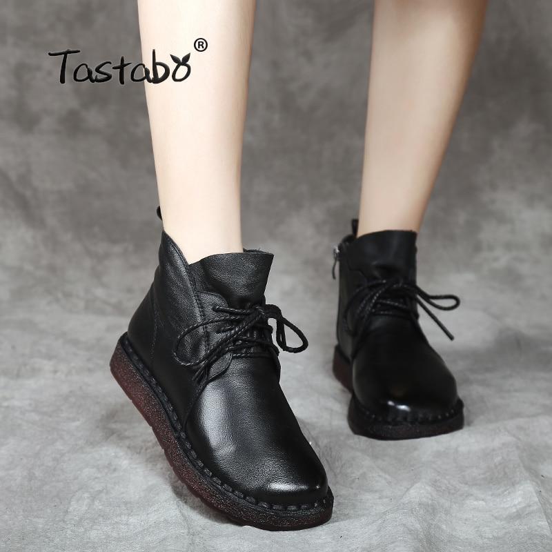 Tastabo шнуровке Для женщин ботильоны из натуральной кожи плоская подошва Винтаж леди обувь ретро одноцветное Черные ботильоны для Для женщин