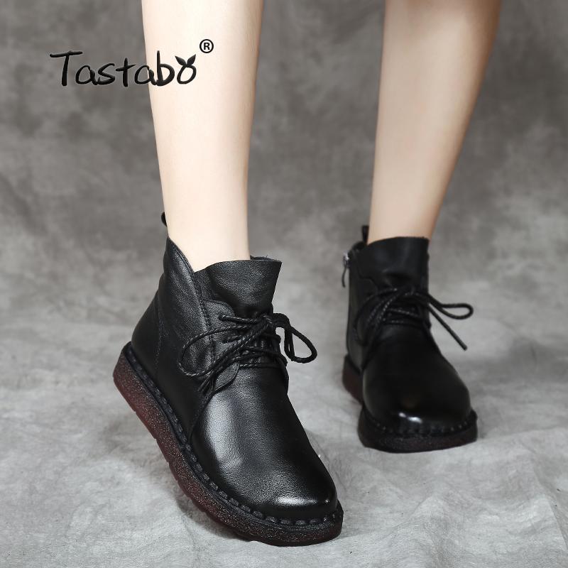 Tastabo Lace up Women Genuine Leather Ankle Shoes Flat with Vintage Lady Shoes Retro Solid Black Ankle Boots for Women