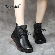 Tastabo dantel up kadın hakiki deri ayak bileği ayakkabı düz Vintage Lady ayakkabı Retro katı siyah yarım çizmeler kadınlar için