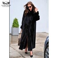 Татьяна Furclub Элитная натурального меха норки пальто для Для женщин зимние толстые Меховая куртка черный Цвет 130 см X длинные норка шуба реаль