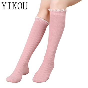 8d54694a6f9 YIKOU Female spring models Japanese cotton double needle lace women s  fashion knee stockings girls boots but
