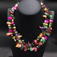 Пляжный стиль натуральный жемчуг пресной воды ожерелье 3 слоя многоцветные Модные женские ювелирные изделия Бесплатная доставка