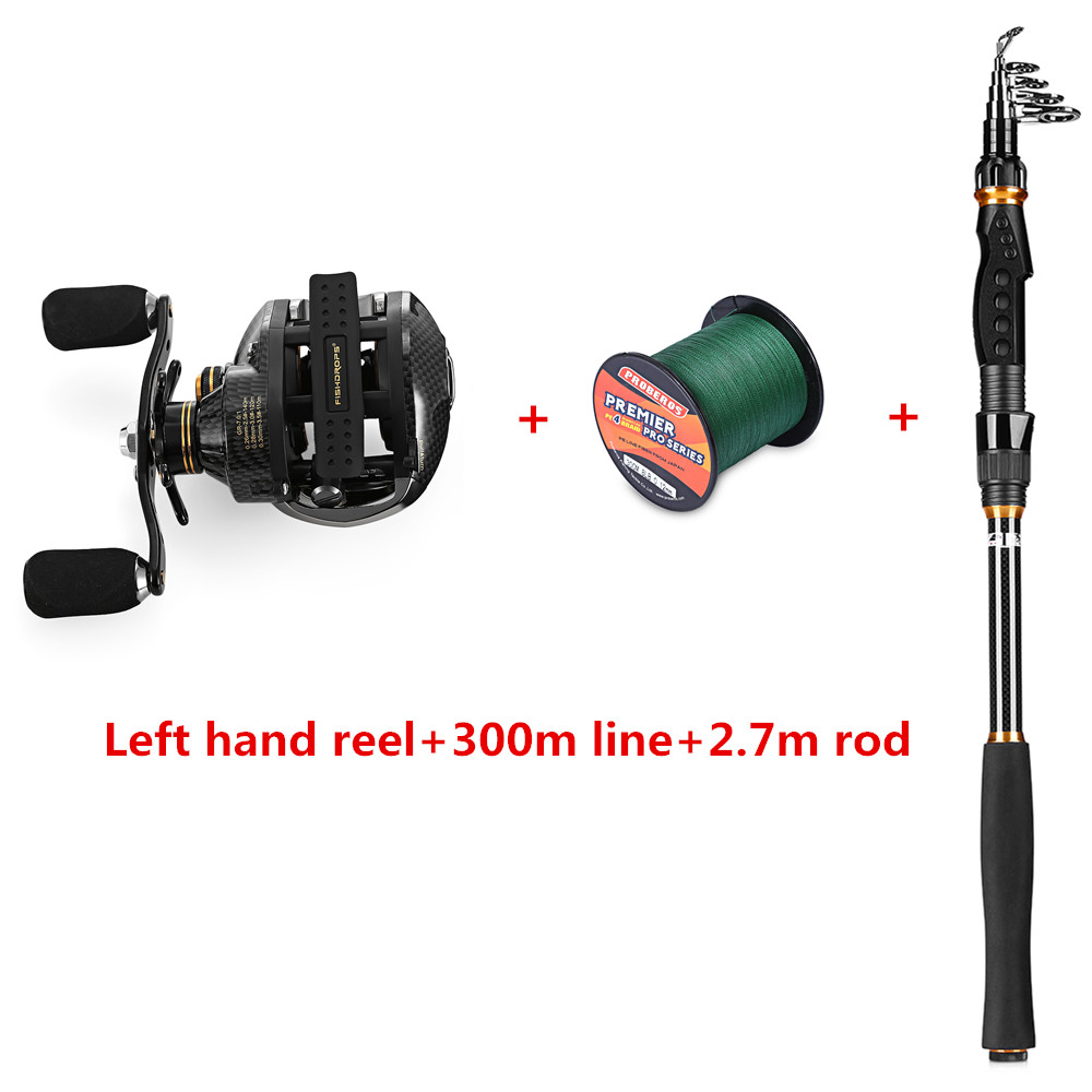 Рыбалка комбо Катушка Род линия FISHDROPS LB200 Рыболовная катушка + 300 м PE леска + углеродного волокна Baitcasting удочка
