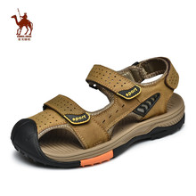 CAMEL JINGE Beach Sandals Shoes Men Breathable Genuine Leather Light Hiking Outdoor Barefoot Sports Sandalias Deportivas