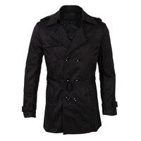 남성 겨울 슬림 더블 브레스트 트렌치 코트 긴 재킷 외투 착실히 보내다 블랙 사이즈 M/미국 XS