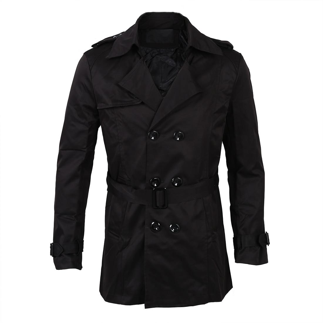 Men Winter Slim Double Breasted Trench Coat Long Jacket Overcoat Outwear Black Size M/US XS