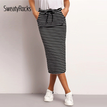 SweatyRocks Drawstring Waist Horizon Striped Skirt Streetwear Casual Pencil Skirts 2019 Spring Summer Women Skinny Midi Skirts